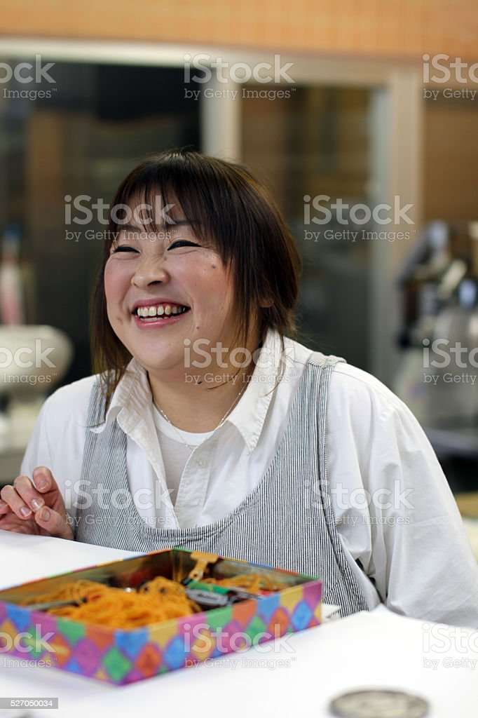 Proprietor in a Japanese meat store stock photo