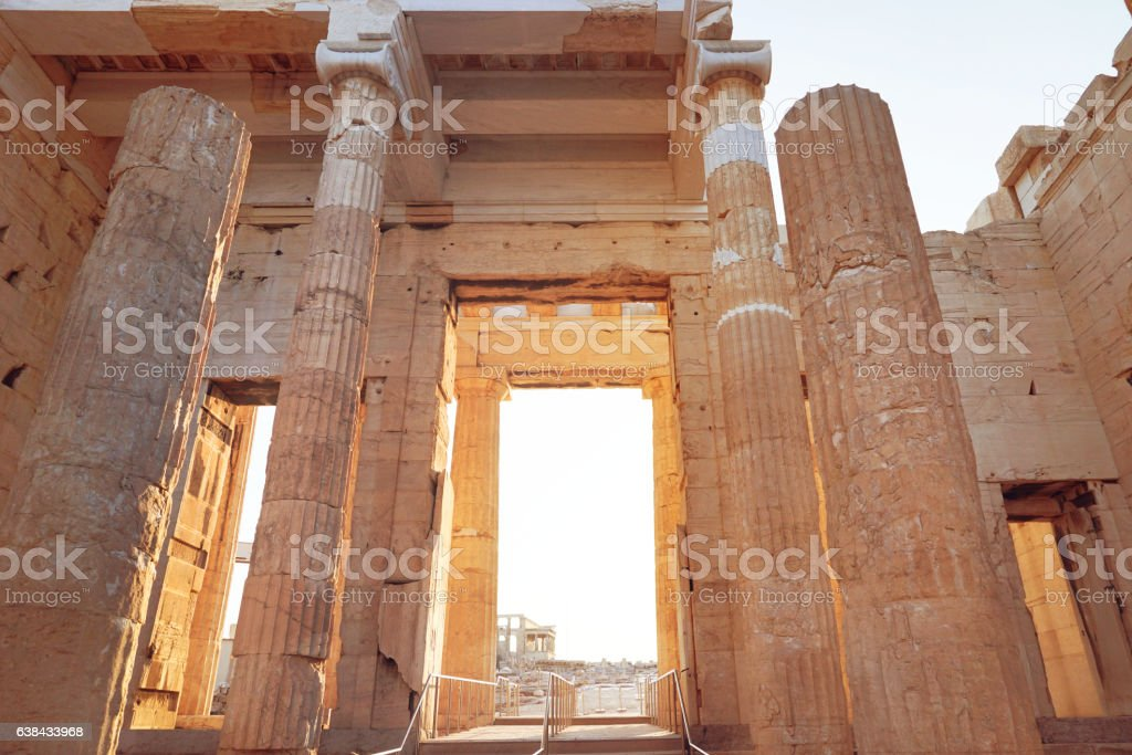 Propylaea entrance of Acropolis museum complex by morning stock photo