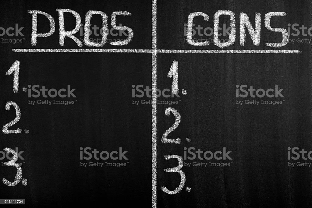 Pros and cons empty list on blackboard stock photo