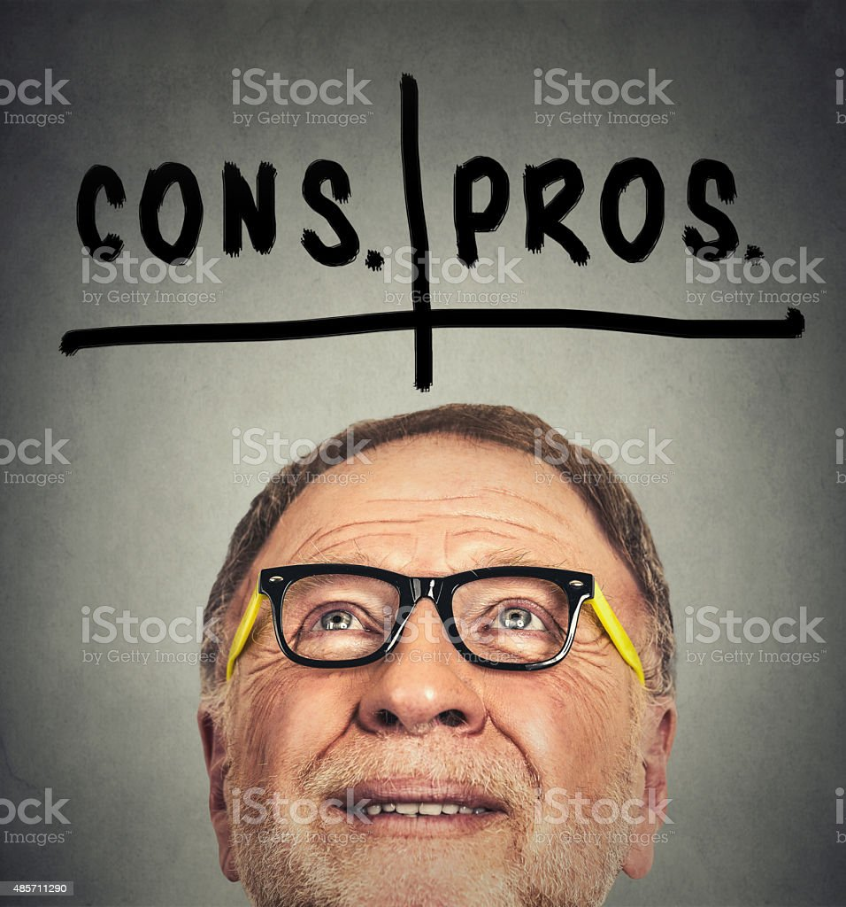 pros and cons, for and against argument concept stock photo