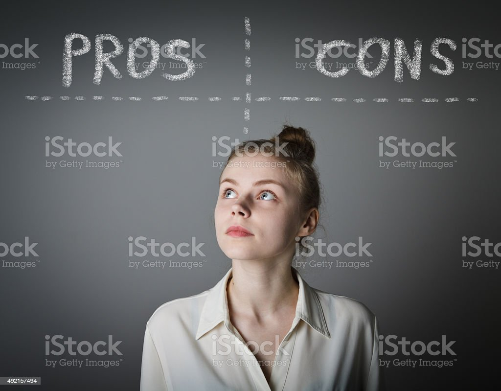 Pros and cons. Hesitation. stock photo