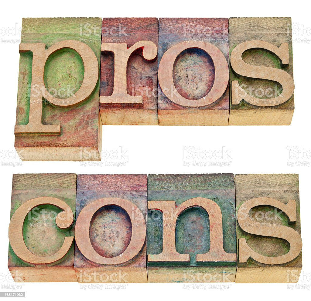 pros and cons in letterpress type royalty-free stock photo