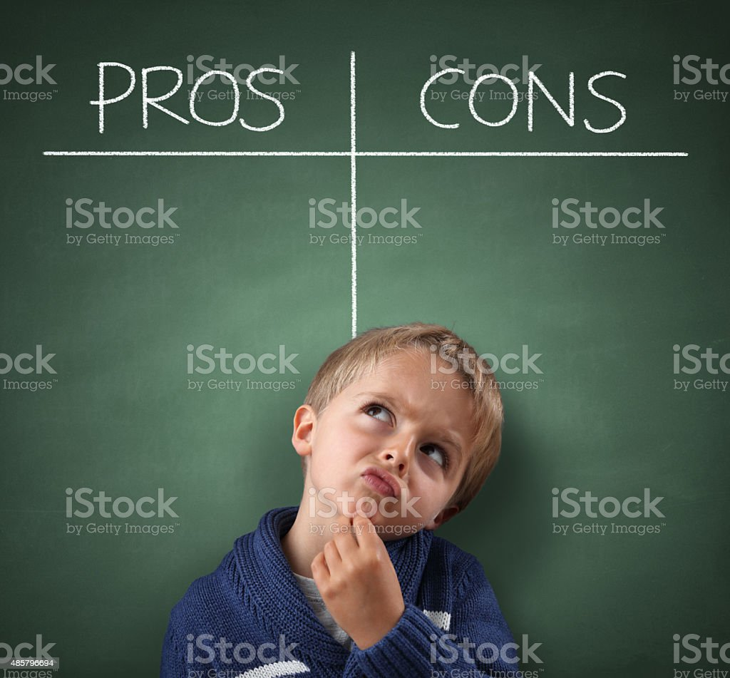 Pros and Cons on a blackboard stock photo