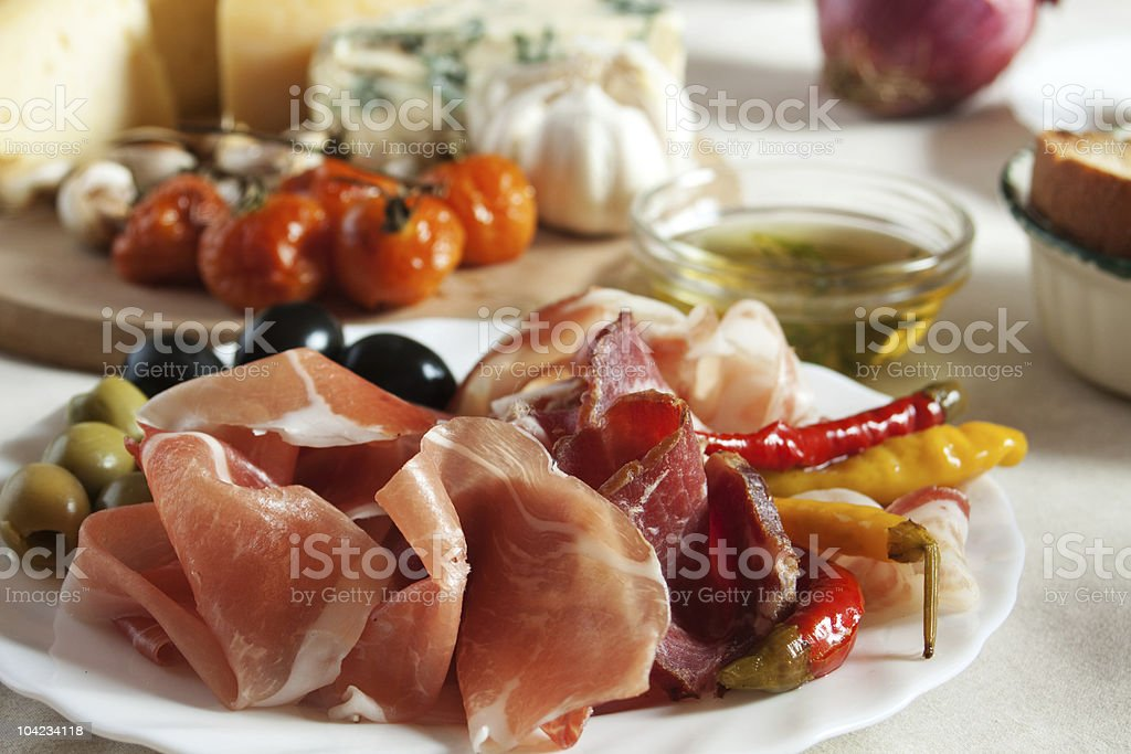Prosciuto served as appetizer stock photo