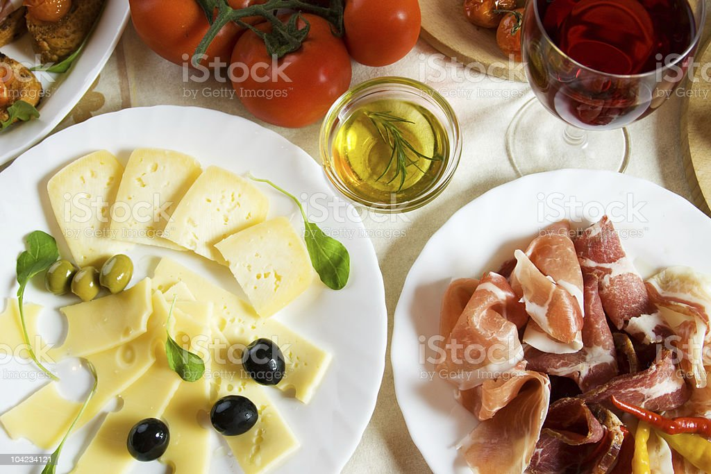 Prosciutto and cheese royalty-free stock photo