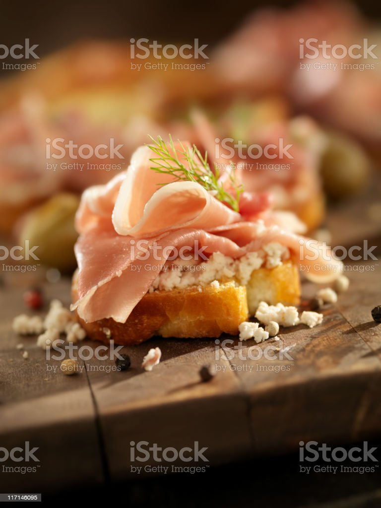 Prosciutto and Feta Canapes royalty-free stock photo