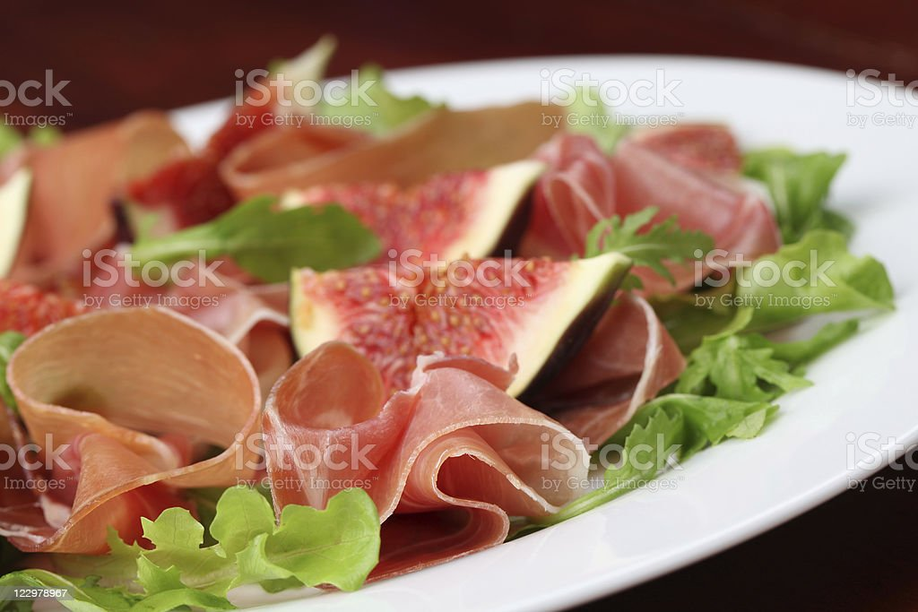 Prosciutto and fig salad royalty-free stock photo