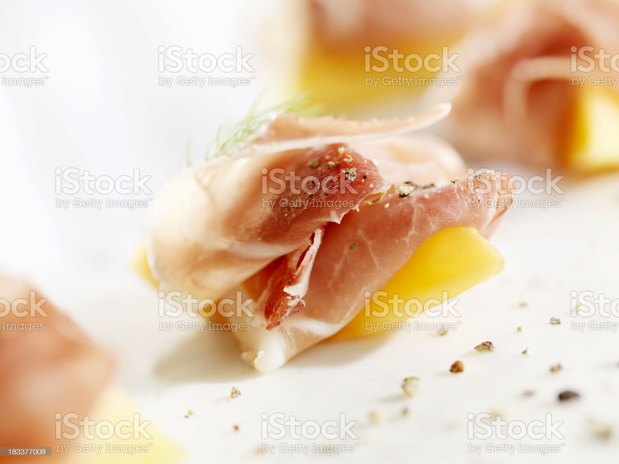 Prosciutto and Melon Canapes royalty-free stock photo