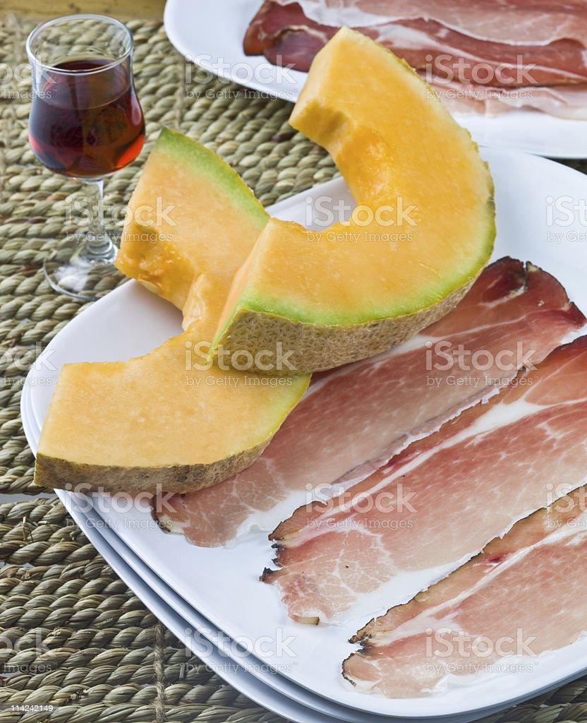 Prosciutto and Melon stock photo