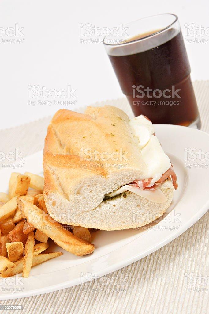 Prosciutto and Mozarella cheese sandwich royalty-free stock photo