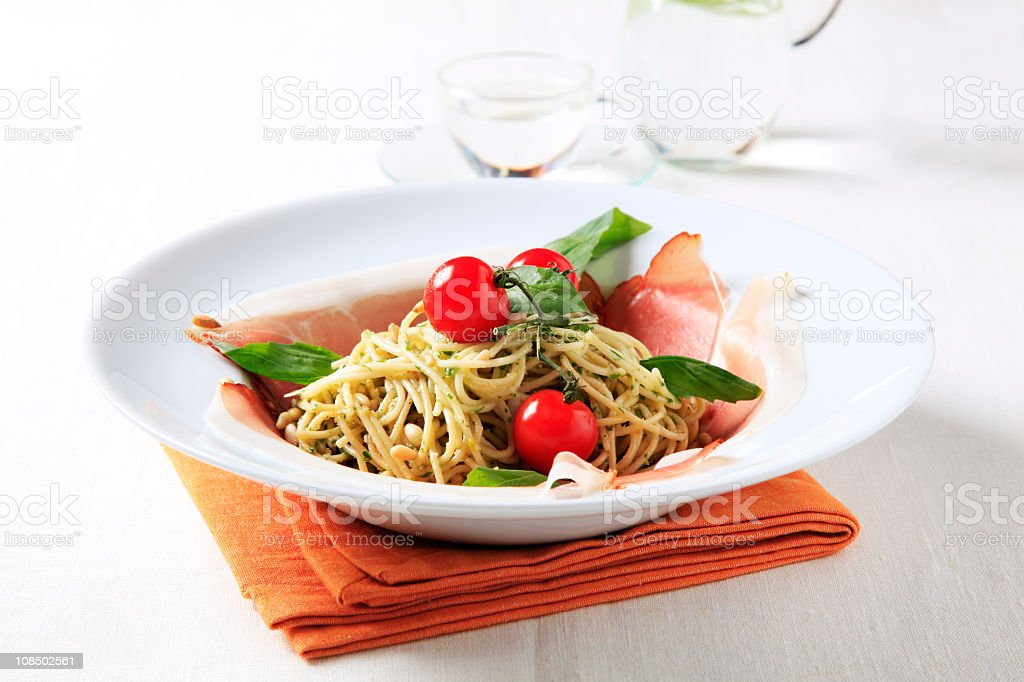 Prosciutto and pasta royalty-free stock photo