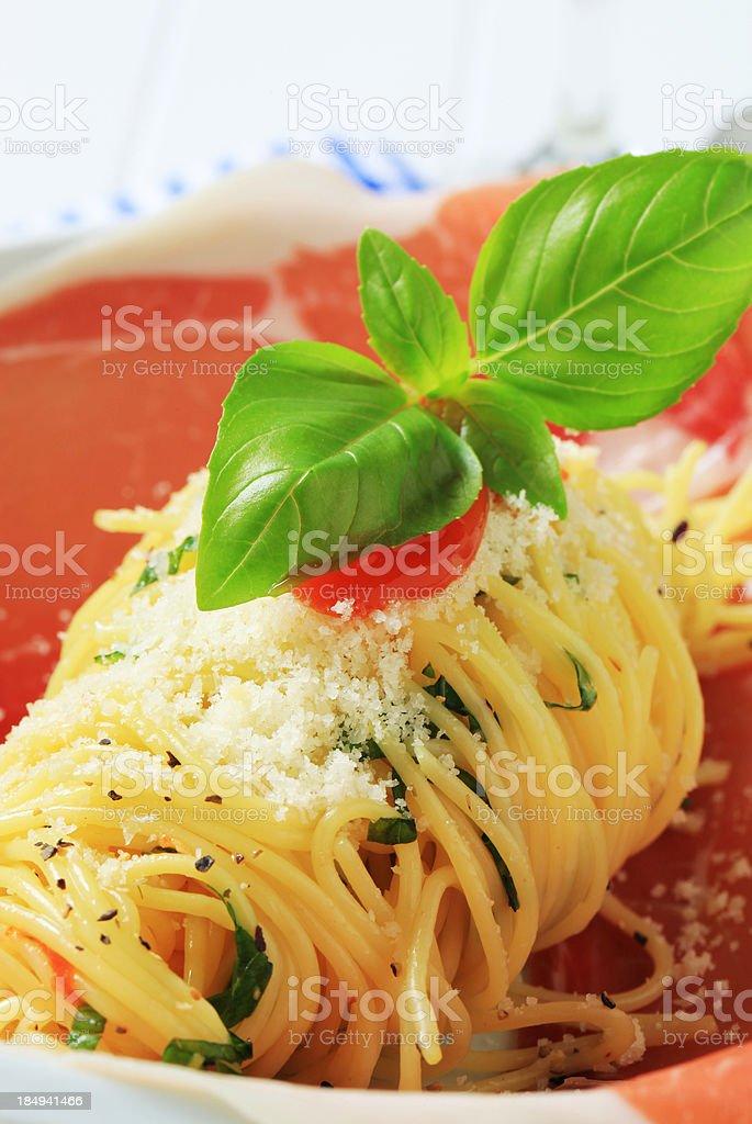 Prosciutto and spaghetti royalty-free stock photo