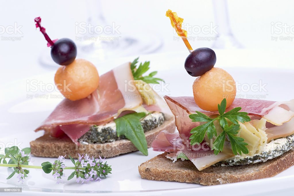 Prosciutto canapes royalty-free stock photo