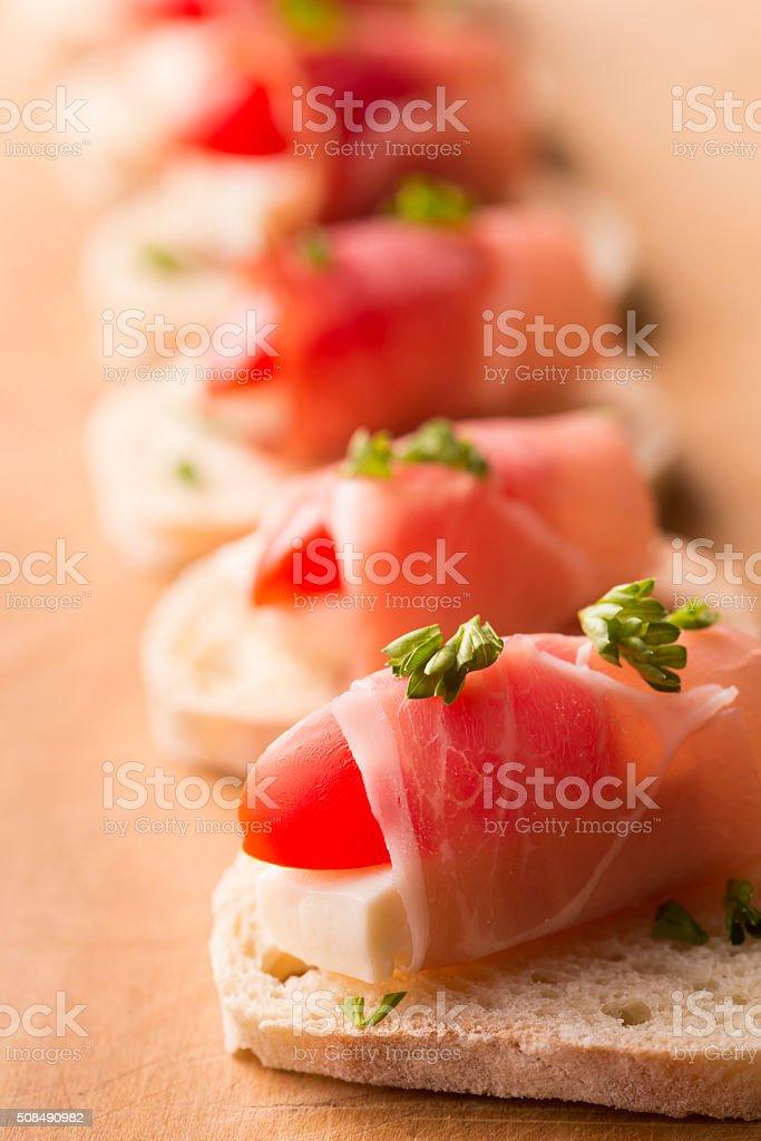 Prosciutto Cheese Appetizer stock photo