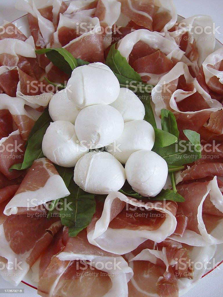 Prosciutto Ham and Buffal Mozzarella Cheese royalty-free stock photo