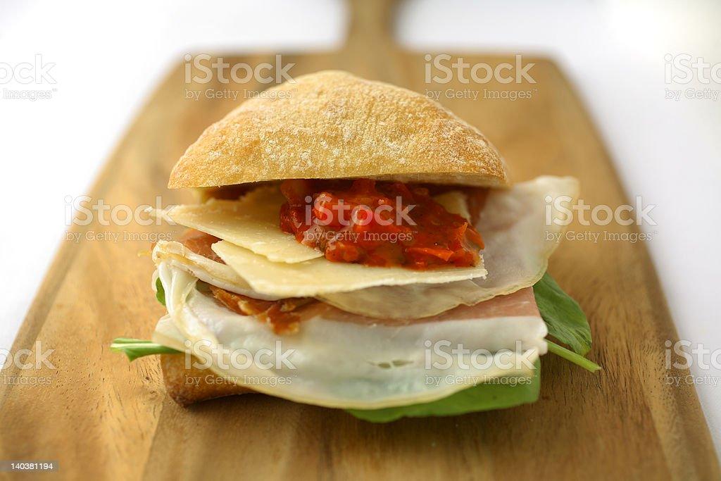 Prosciutto Ham and Cheese sandwich stock photo