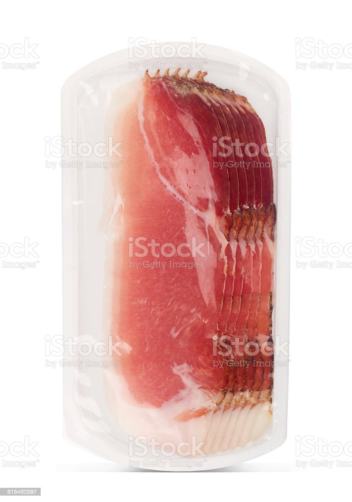 Prosciutto plastic packaging stock photo