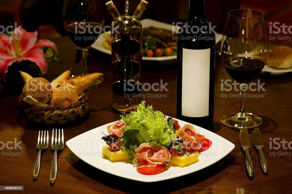 prosciutto salad polenta antipasto stock photo