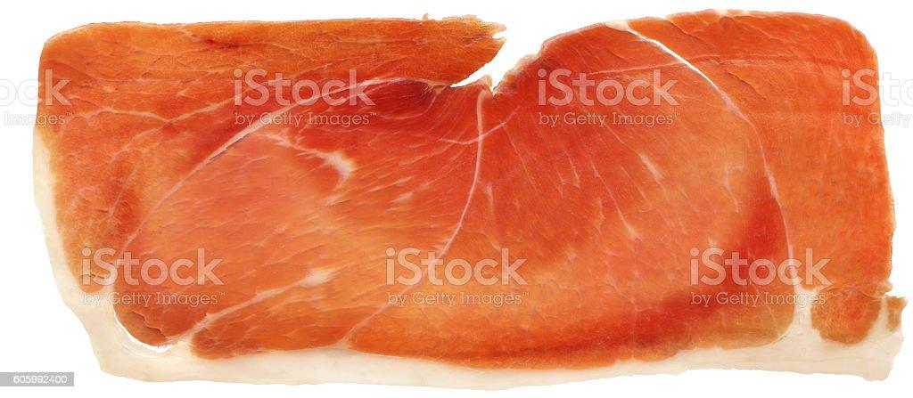Prosciutto Smoked Pork Ham Rasher Isolated On White Background stock photo