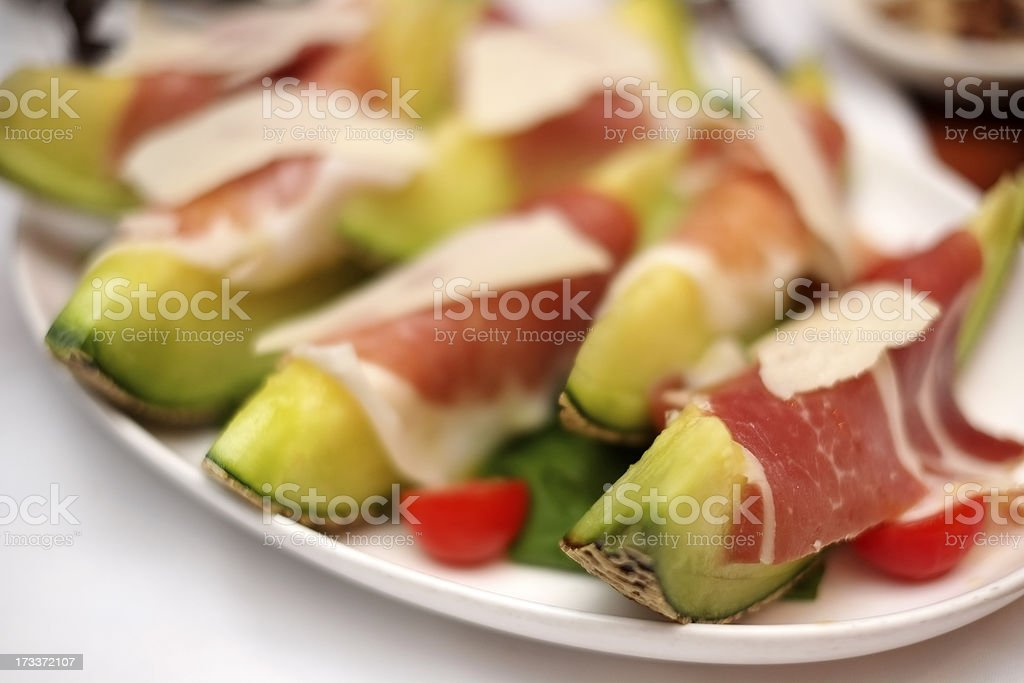 Prosciutto with melons royalty-free stock photo