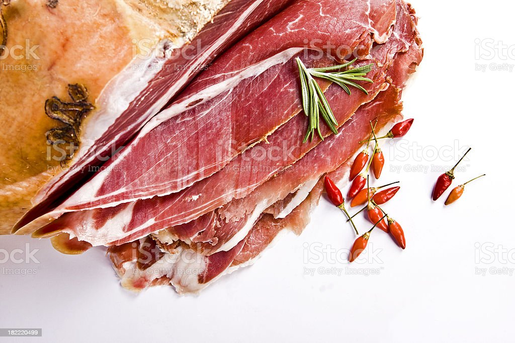 Prosciutto (Italian Ham) with Rosemary dnd Red Pepper royalty-free stock photo