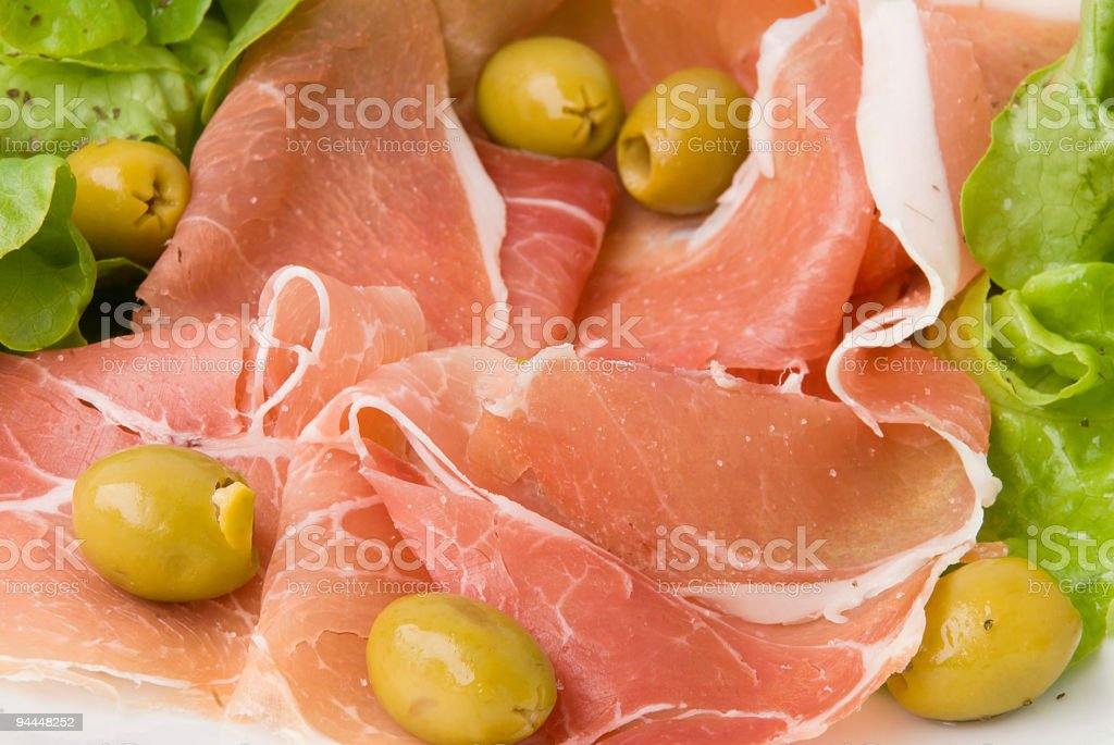 Prosciutto with Summer Salad 4 royalty-free stock photo