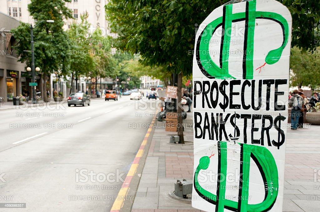 Prosecute Banksters stock photo