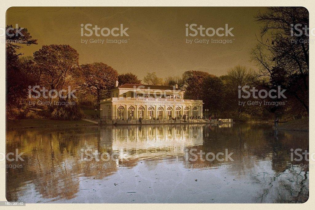 Prospect Park Boathouse Postcard - Grunge royalty-free stock photo