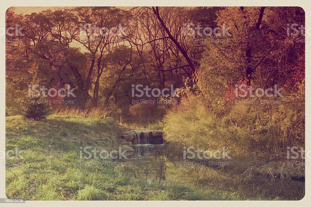 Prospect Park in Autumn - Vintage Postcard royalty-free stock photo