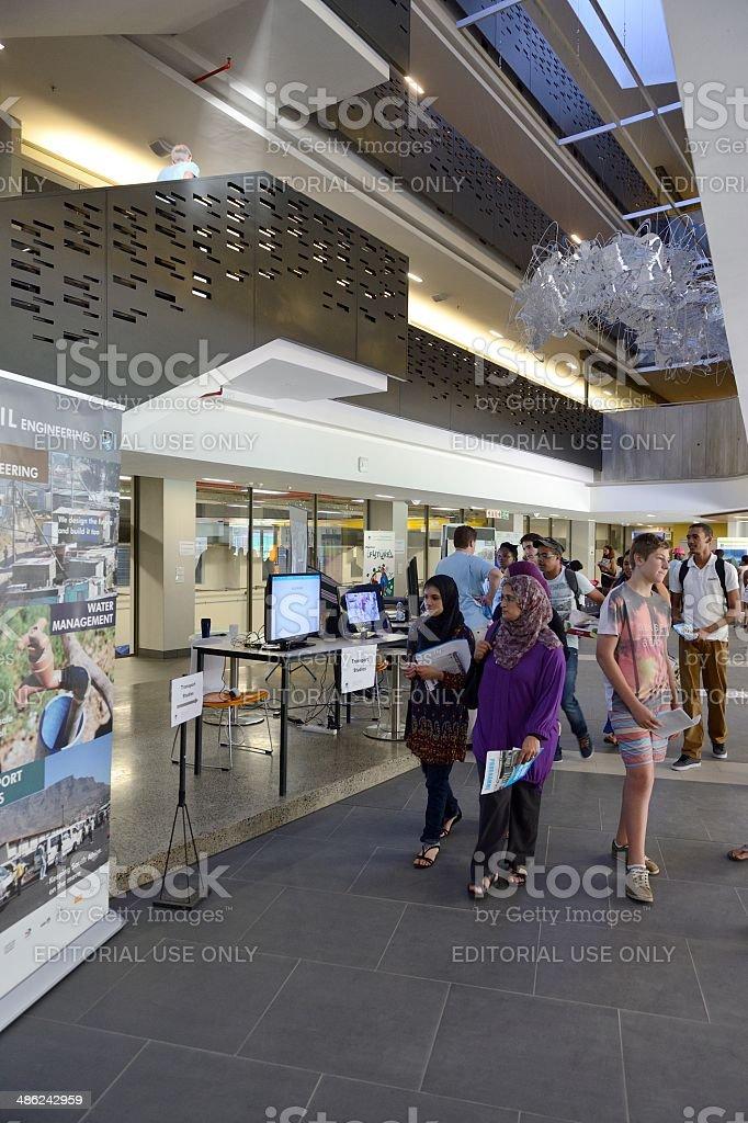 Prospective students attending a university open day stock photo