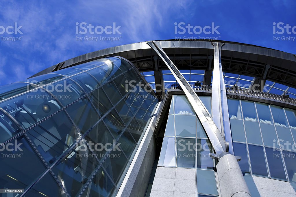 prospective view to new modern building skyscrapers of business royalty-free stock photo