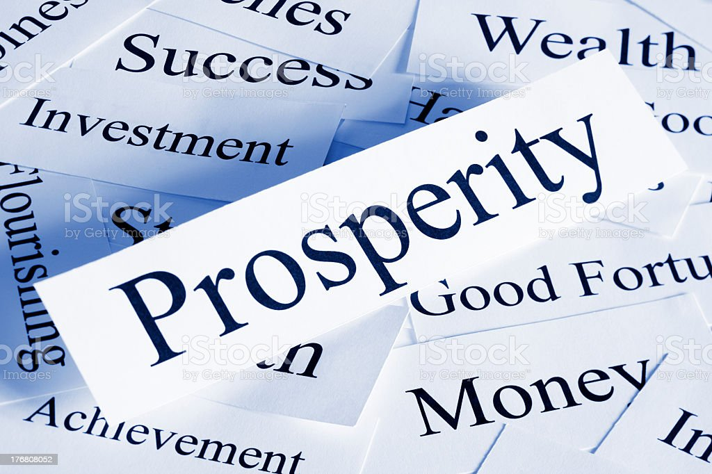 Prosperity concept using words on white pieces of paper stock photo