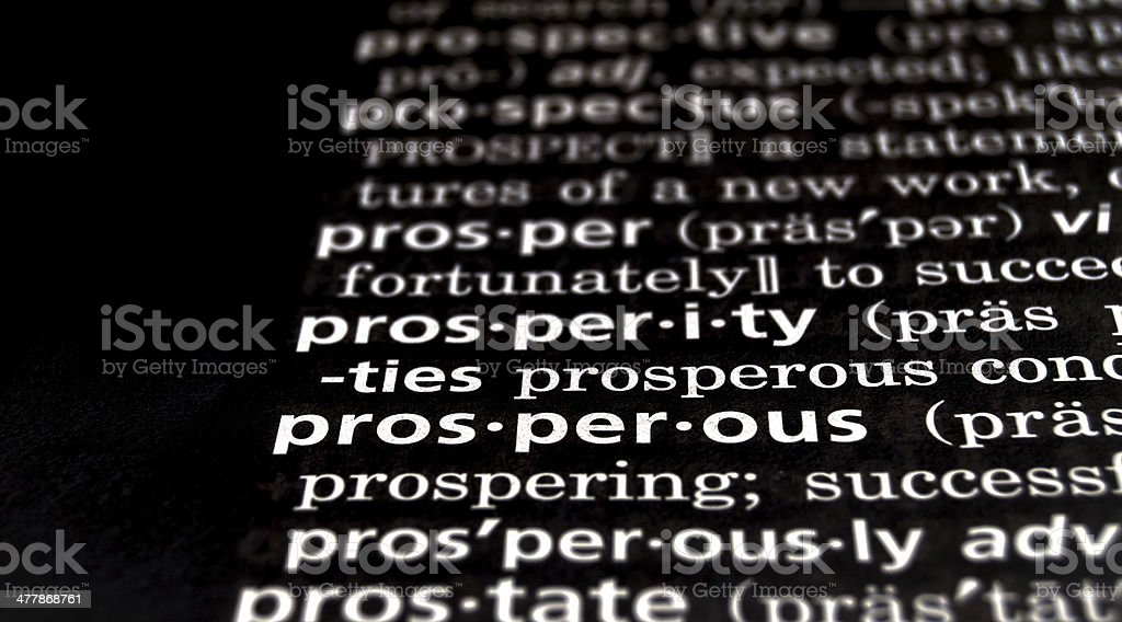 Prosperous Defined on Black royalty-free stock photo