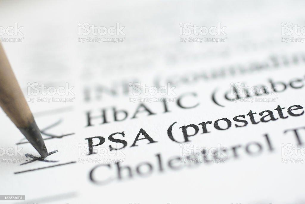 PSA Prostate test report ticked stock photo