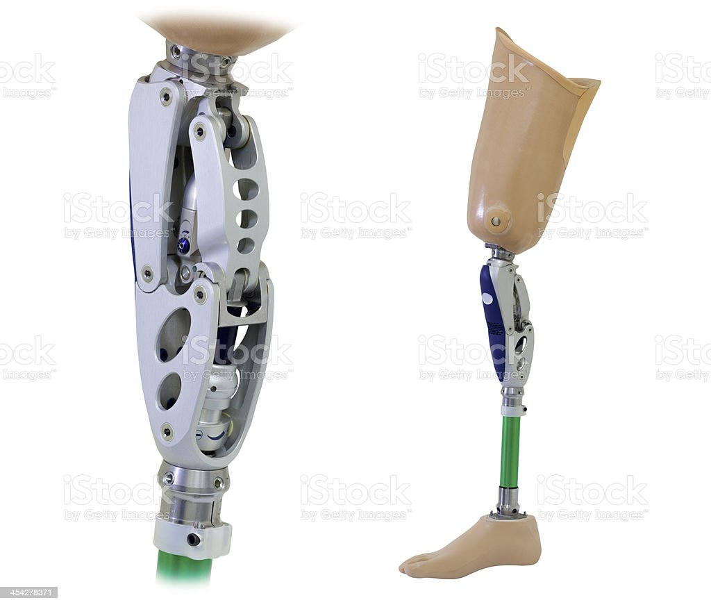 Prosthetic leg and knee mechanism stock photo