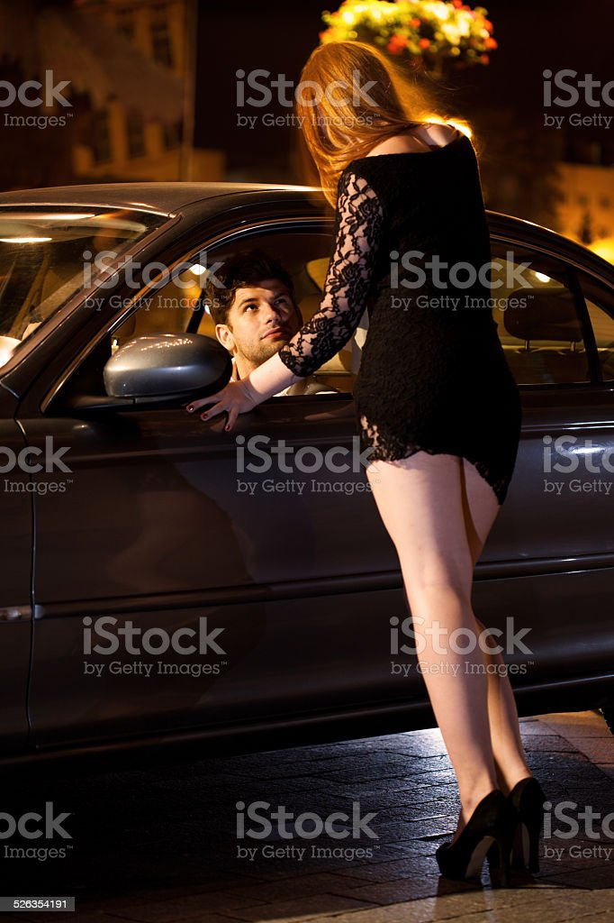 Prostitute and her client stock photo
