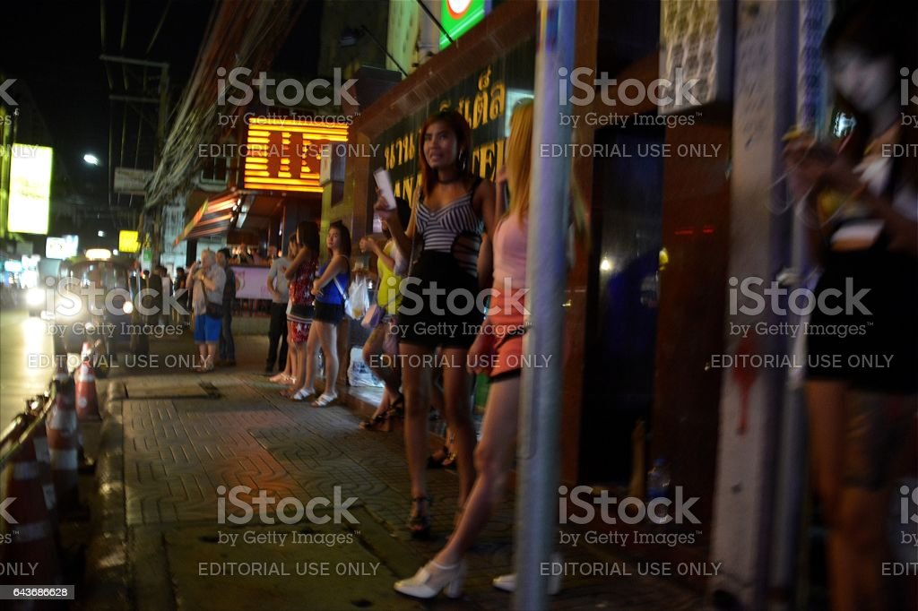 Prostitutes on soi Nana sidewalk, Sukhumvit, Bangkok, Thailand stock photo