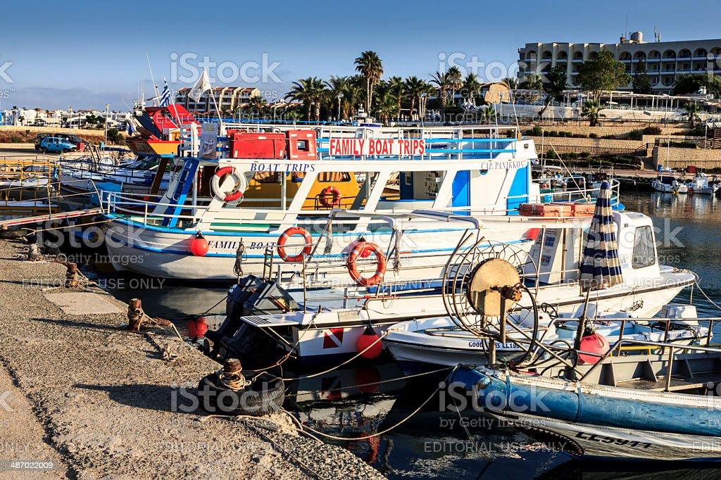 Protaras harbor stock photo
