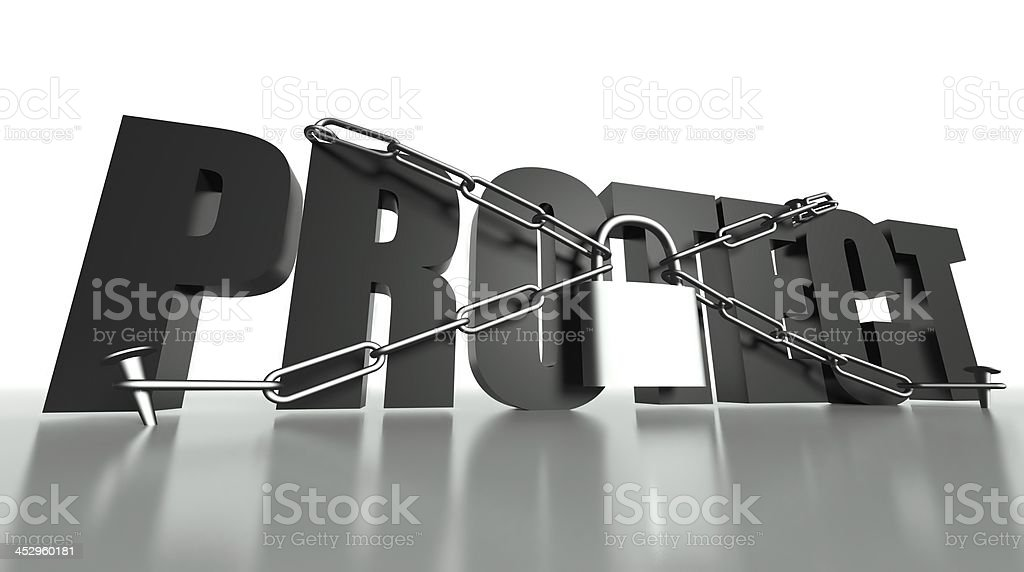 Protect concept, safety padlock and chain royalty-free stock photo