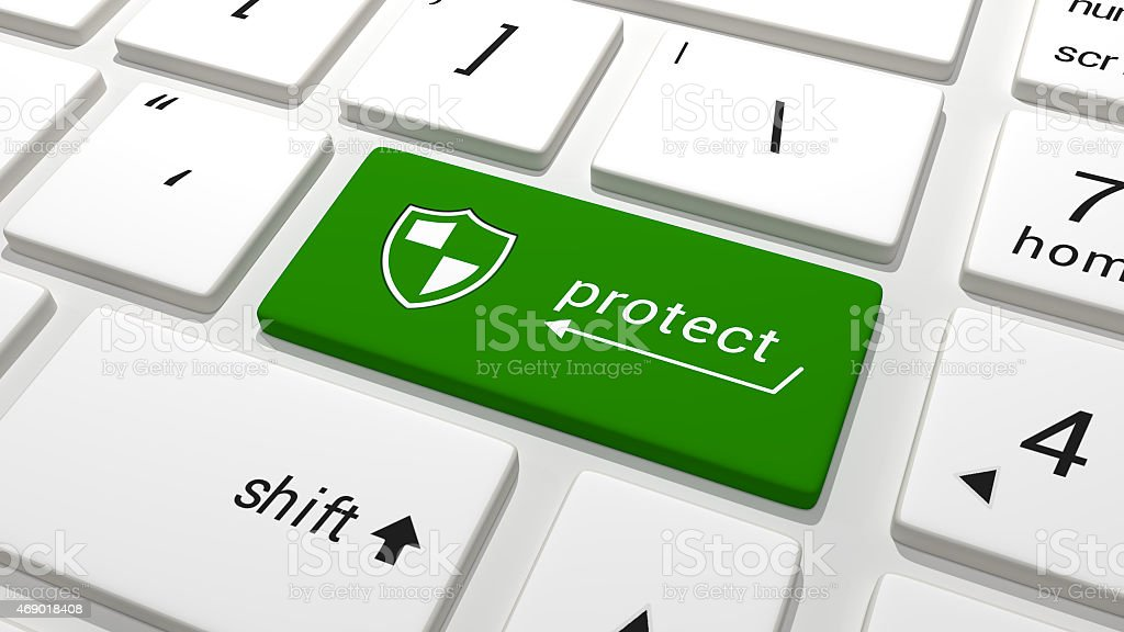 Protect key on a keyboard green stock photo