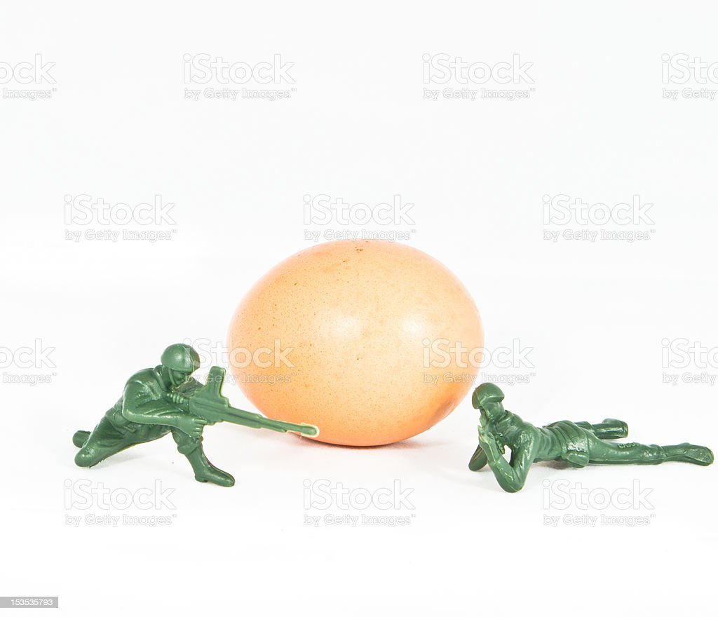 Protect the Fresh Egg, Health Concept, Soldier Toy royalty-free stock photo