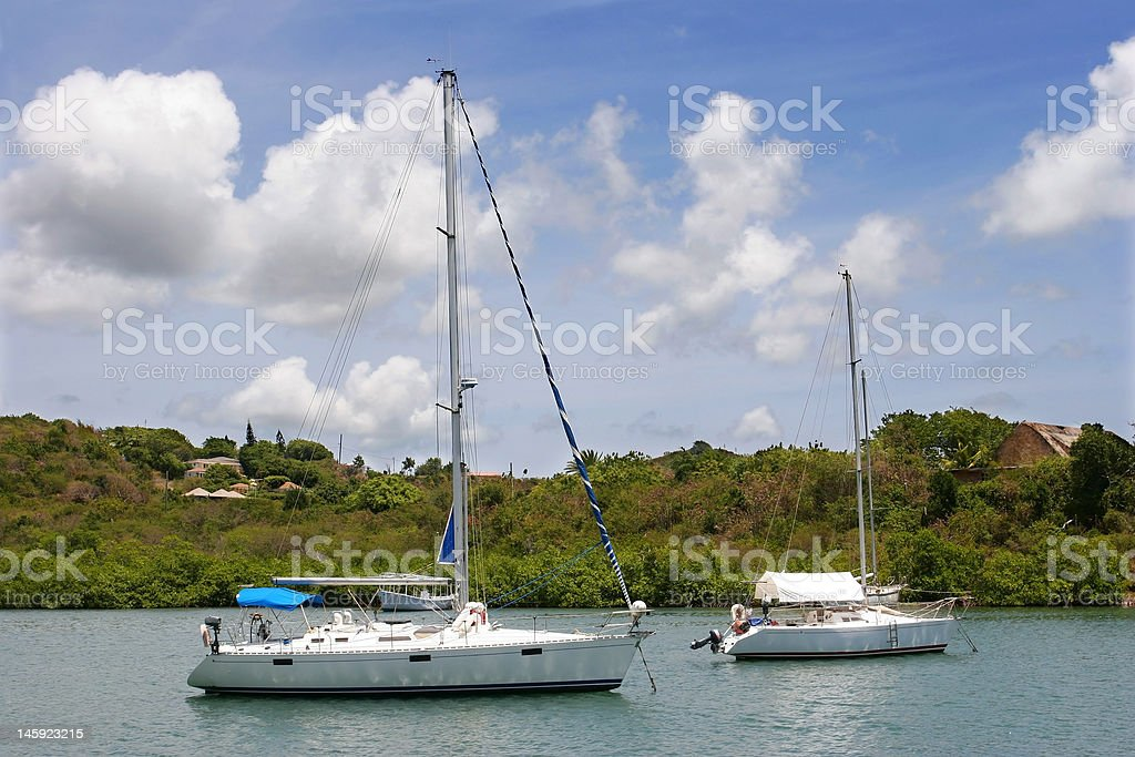 Protected boat harbor in the Caribbean royalty-free stock photo
