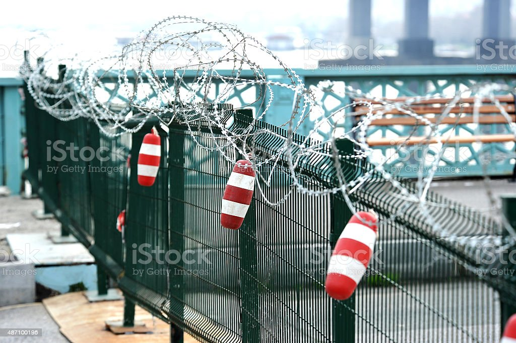 Protected fence stock photo