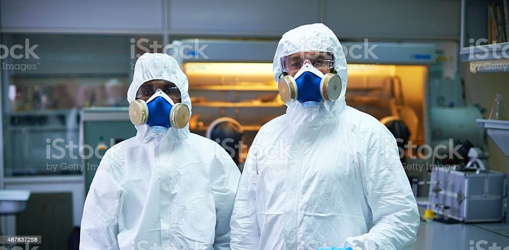 Protected scientists stock photo