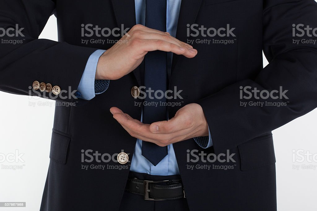 Protecting  and empty male hands. stock photo