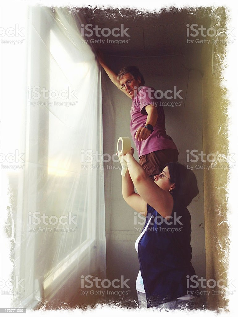Protecting Balcony During Home Addition Europe royalty-free stock photo