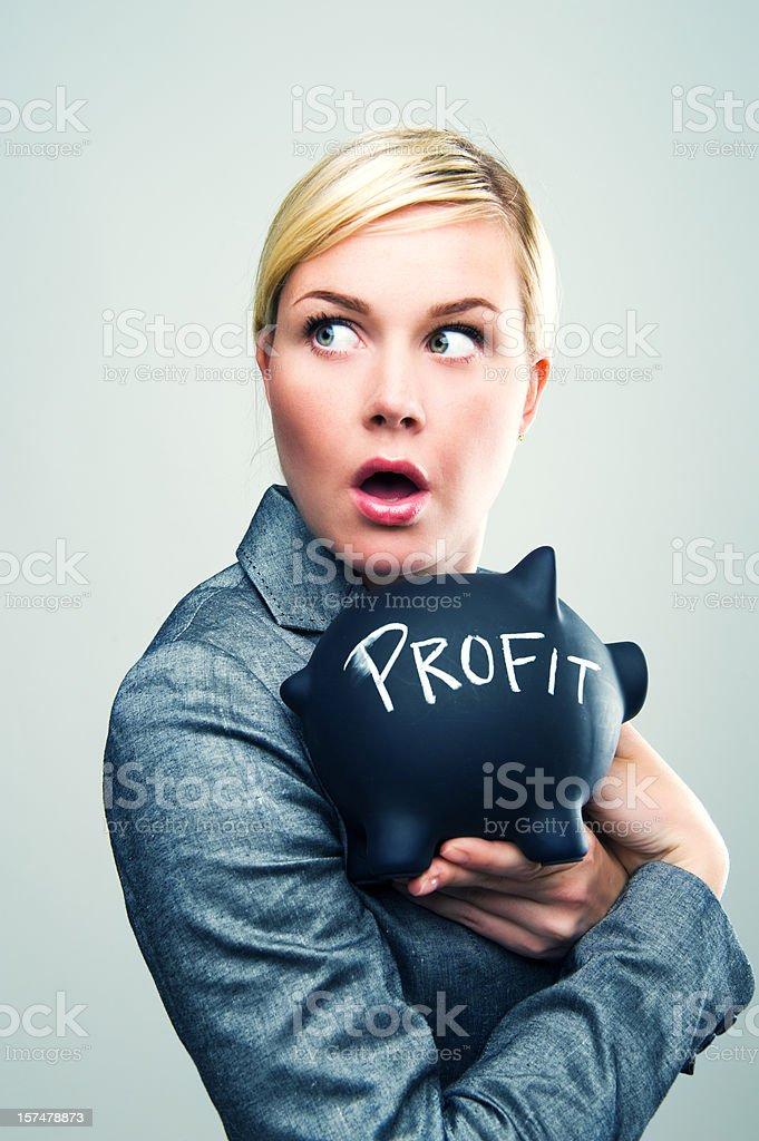 Protecting her profit stock photo