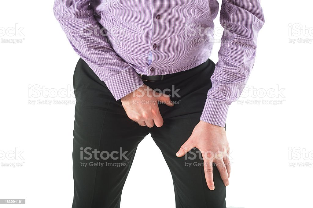 protecting testicles - Tritt in die Eier stock photo