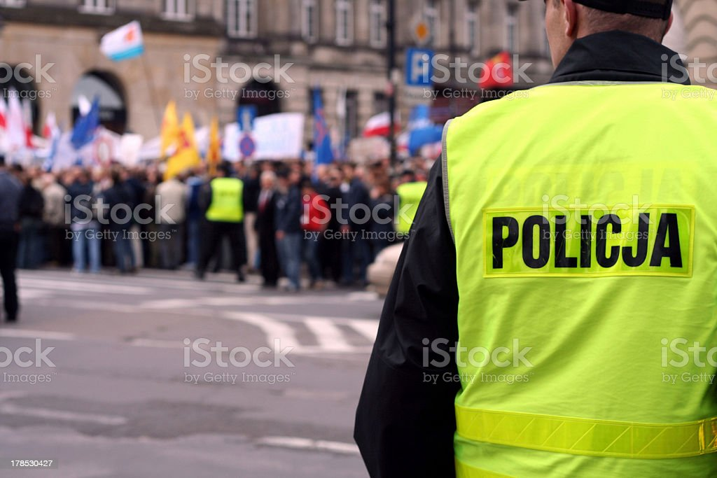 Protecting the demonstration 1 stock photo