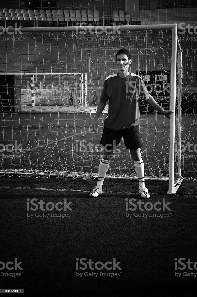 Protecting the goal stock photo